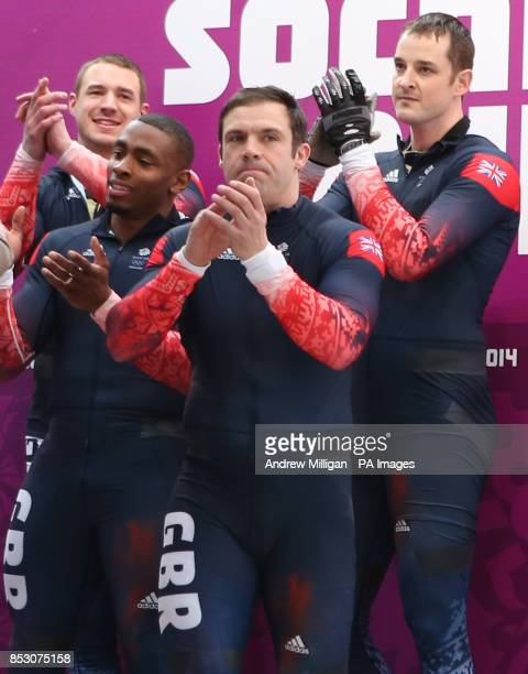 Great Britain Men's Bobsleigh GBR1 Team of Stuart Benson Joel Fearon John Jackson and Bruce Tasker after their fourth run of the men's 4 man...