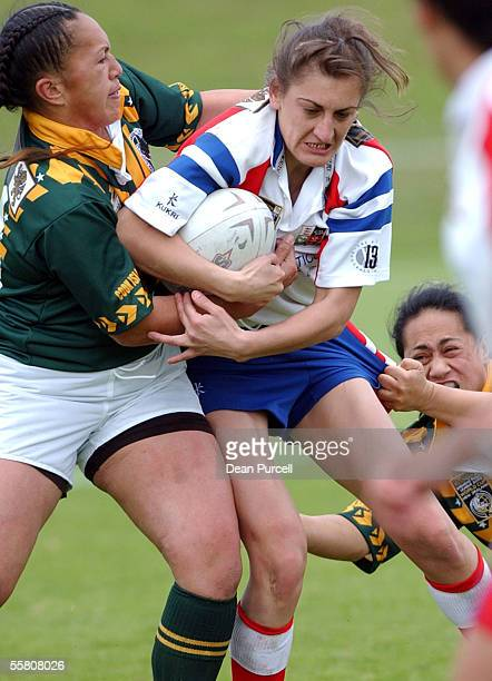 Great Britain No21 Sarah Shillito in action during the 2002 Womens Rugby League World Cup between Great Britain and Cook Island played at North...