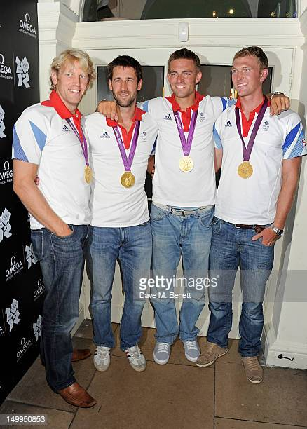 Great Britain Olympic rowing gold medallists Andrew Triggs Hodge Tom James Pete Reed and Alex Gregory attend 'Spotlight On Swimming' at OMEGA House...