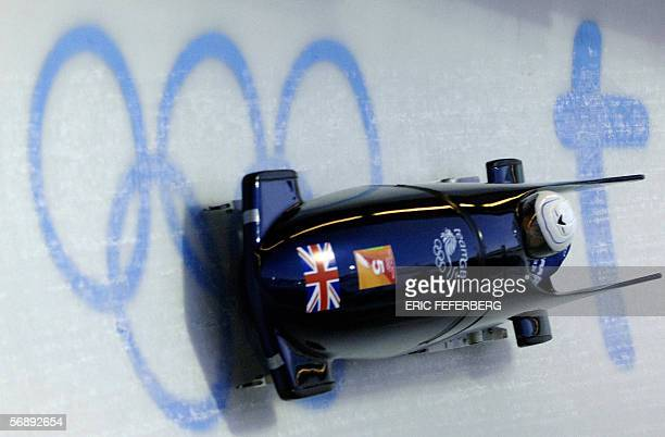 Great Britain pilot Nicola Minichiello and brakewoman Jacqui Davies speed down the track during the women's bobsleigh heat one 20 February 2006 in...