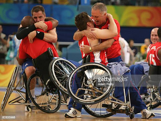 Great Britain players celebrate after winning the bronze medal in the Bronze Medal Wheelchair Basketball match between the United States and Great...