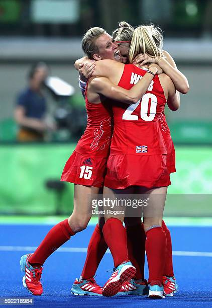 Great Britain players Alex Danson celebrate winning against Netherlands to win the Women's Gold Medal Match on Day 14 of the Rio 2016 Olympic Games...