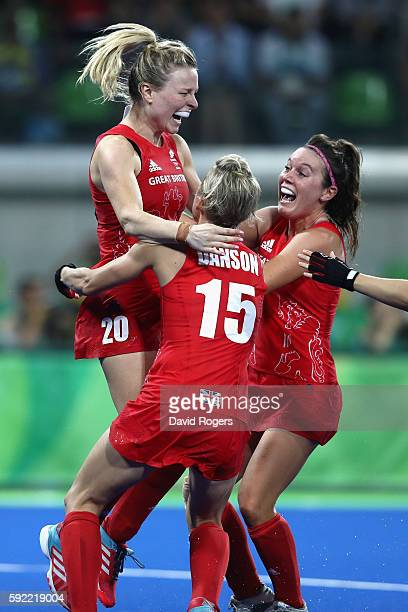 Great Britain players Hollie Webb celebrate winning against Netherlands to win the Women's Gold Medal Match on Day 14 of the Rio 2016 Olympic Games...
