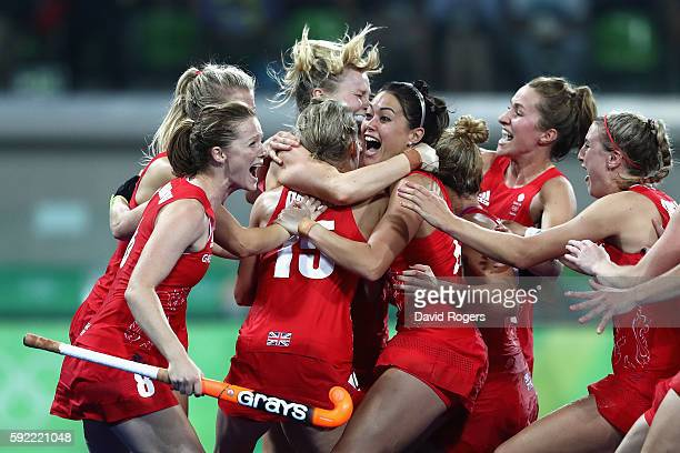 Great Britain players celebrating winning the shoot out against Netherlands to win the Women's Gold Medal Match on Day 14 of the Rio 2016 Olympic...