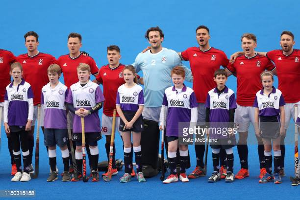 Great Britain players sing their national anthem ahead of the Men's FIH Field Hockey Pro League match between Great Britain and Belgium at Lee Valley...