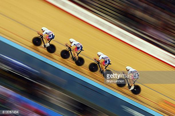 Great Britain ride in qualifying for the Men's Team Pursuit at the Lee Valley Velopark Velodrome on March 2, 2016 in London, England.