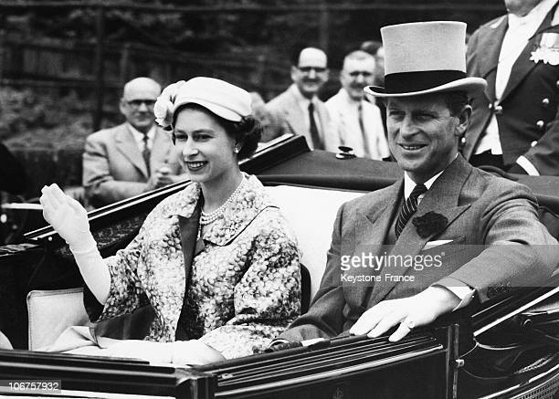 Great Britain Royal Ascot The Queen Elizabeth Ii And The Duke Of Edinburgh On The Way To The Races In June 1957