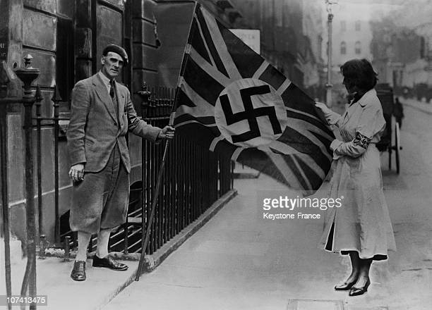 Great Britain S Flag With Swastika At The Entrance Of The Fascist Party In London On October 27Th 1933