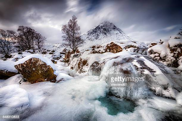 Great Britain, Scotland, Highland, Buachaille Etive Mor, frozen waterfall