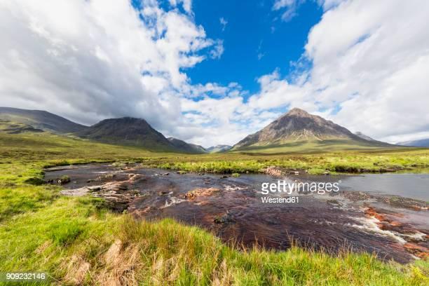 Great Britain, Scotland, Scottish Highlands, Etive Mor, Glen Etive, River Etive, Mountain massif Buachaille Etive Mor with Mountain Stob Dearg