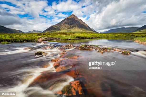 Great Britain, Scotland, Scottish Highlands, Glen Coe, Etive Mor, Glen Etive, River Etive, Mountain massif Buachaille Etive Mor with Mountain Stob Dearg