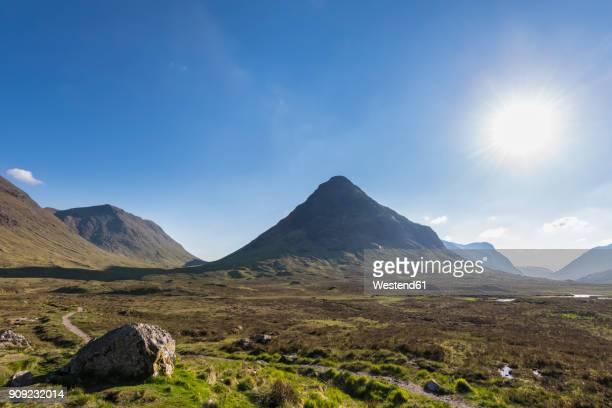 Great Britain, Scotland, Scottish Highlands, Glen Coe, mountain massif Buachaille Etive Mor, Mountain Stob Dearg against the sun