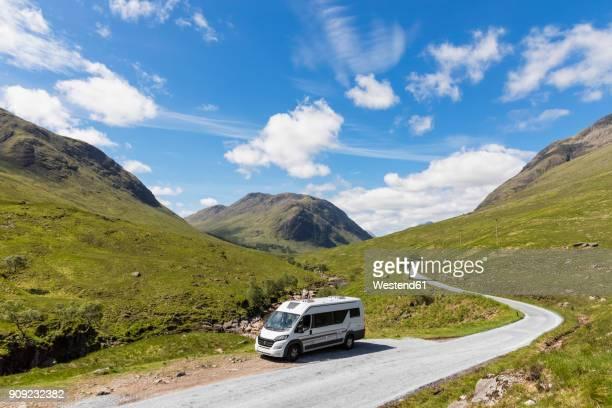 Great Britain, Scotland, Scottish Highlands, Glen Etive with River Etive and camper