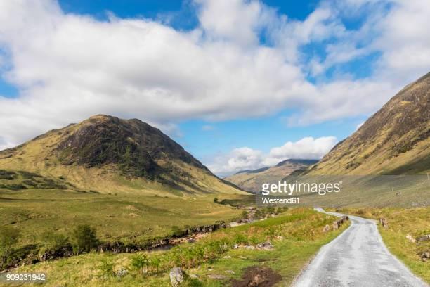 Great Britain, Scotland, Scottish Highlands, Road, Valley Glen Etive with River Etive