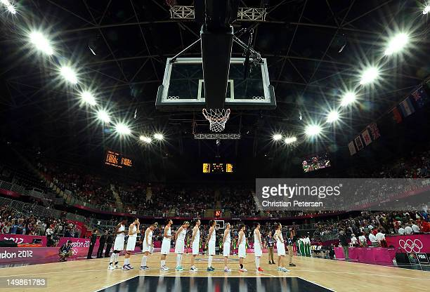 Great Britain stands attended for the National Anthem before the Women's Basketball Preliminary Round match against Brazil on Day 9 of the London...