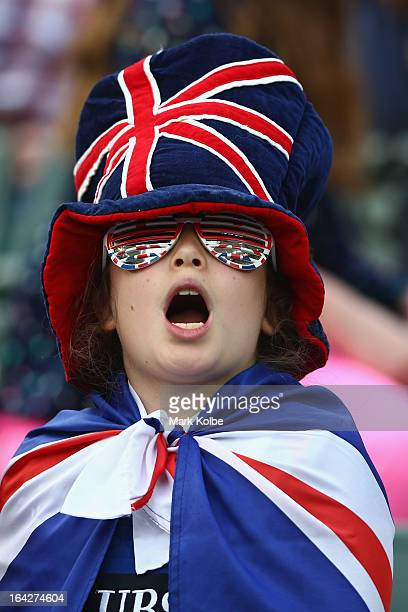 Great Britain supporter in the crowd cheers during day one of the 2013 Hong Kong Sevens at Hong Kong Stadium on March 22 2013 in So Kon Po Hong Kong