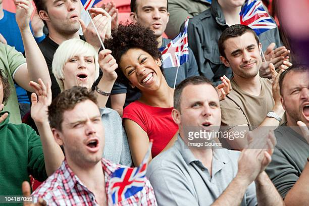great britain supporters with flags - chanting stock pictures, royalty-free photos & images