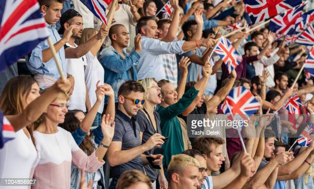 great britain supporters with flags - world championship stock pictures, royalty-free photos & images