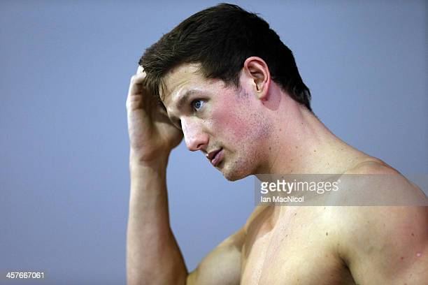 Great Britain swimmer and Olympic Silver medalist Michael Jamieson warms up pool side prior to the Duel In The Pool at Tollcross International...