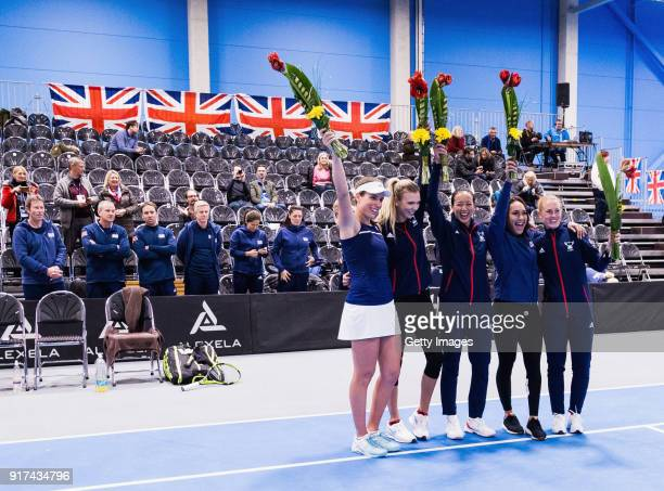 Great Britain team celebrate following the Europe/Africa Promotional PlayOff Semi Final match of the Fed Cup by BNP Paribas between Great Britain and...