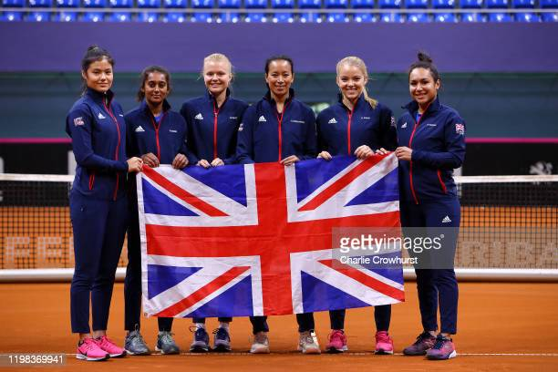 Great Britain team Emma Raducanu Naiktha Bains Harriet Dart Captain Anne Keothavong Katie Swan and Heather Watson pose for a photo prior to the Fed...