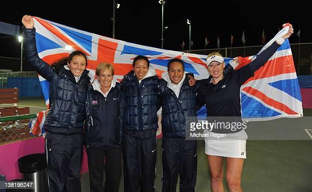 Great Britain team Laura Robson captain Judy Murray Anne Keothavong Heather Watson and Elane Baltacha celebrate winning the tie between Great Britain...