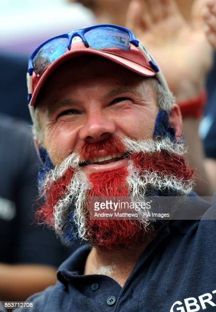 Great Britain team member and former England Rugby sevens player Ollie Phillips sports a Union FLag inspired beard during the Round the World Race...