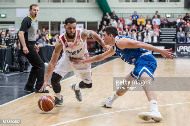 Great Britain Teddy Okereafor and Greece Giannoulis Larentzakis during the FIBA World Cup qualifiers between Great Britain and Greece at the...
