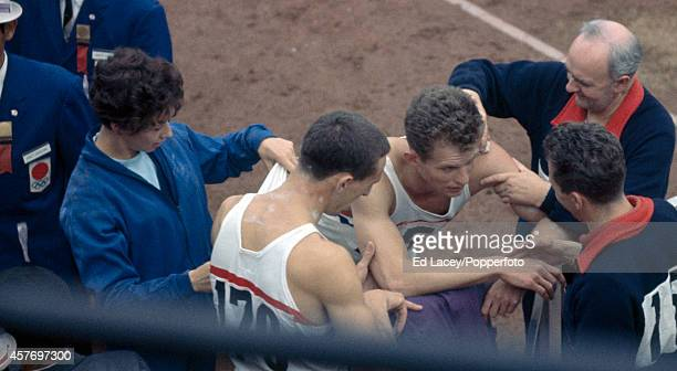 Great Britain track medallists left to right Ann Packer John Cook and Robbie Brightwell during the Summer Olympic Games in Tokyo circa October 1964