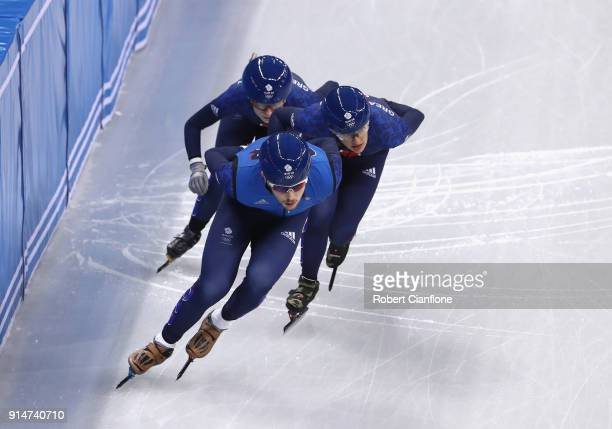 Great Britain train during Short Track Speed Skating practice ahead of the PyeongChang 2018 Winter Olympic Games at Gangneung Ice Arena on February 6...