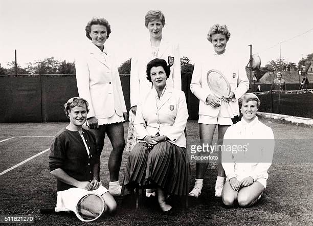 left to right standing Kay Tuckey Christine Truman and Ann Shilcock front row Shirley Bloomer Mary Halford and Ann Haydon circa 1950