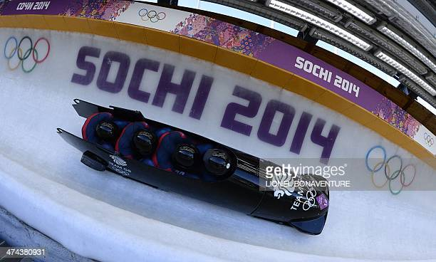 Great Britain1 fourman bobsleigh pilot John James Jackson pushman Stuart Benson pushman Bruce Tasker and brakeman Joel Fearon compete in the...