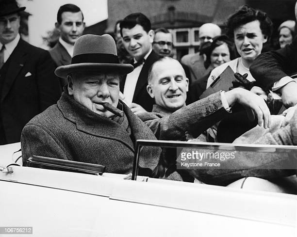 Great BritainLondonWoodford Ex Prime Minister Sir Winston Churchill Made A Tour Of His Constituency In Readiness For General Elections May 1955