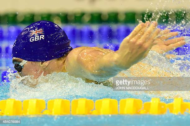 Great Britain's Adam Barrett competes to make his team winning in the men's 4X100m Medley final of the 32nd LEN European Swimming Championships on...