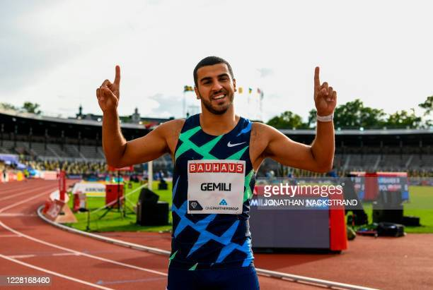 Great Britain's Adam Gemili reacts to winning the men 200m event during the Diamond League Athletics Meeting at Stockholm stadium on August 23, 2020.