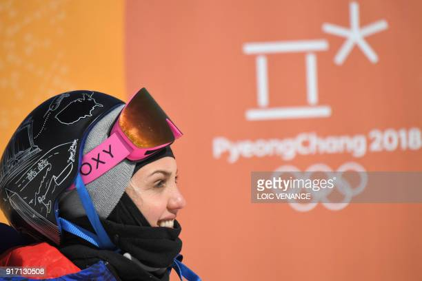 Great Britain's Aimee Fuller reacts during a run of the women's snowboard slopestyle final event at the Phoenix Park during the Pyeongchang 2018...
