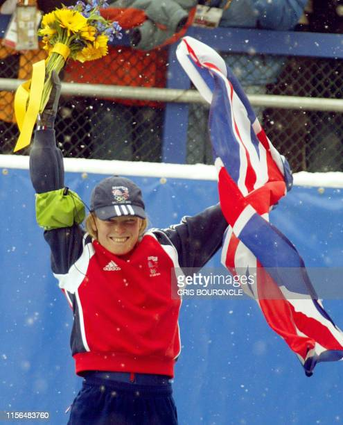 Great Britain's Alex Coomber celebrates her bronze medal during the women's skeleton event for the Salt Lake 2002 Olympic Winter Games at the Utah...