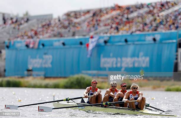 Great Britain's Alex Gregory Pete Reed Tom James and Andrew Triggs Hodge compete in the men's four heats of the rowing event during the London 2012...