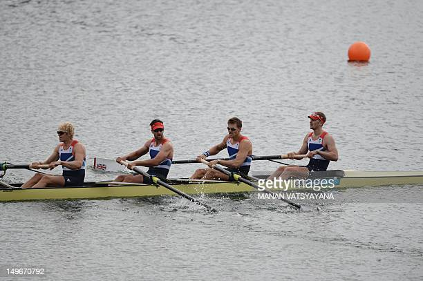 Great Britain's Alex Gregory Pete Reed Tom James and Andrew Triggs Hodge are pictured after winning the men's four semifinal A/B 1 of the rowing...
