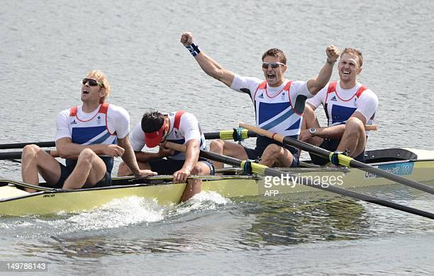 Great Britain's Alex Gregory Pete Reed Tom James and Andrew Triggs Hodge celebrate after winning the gold medal in the men's four final A of the...