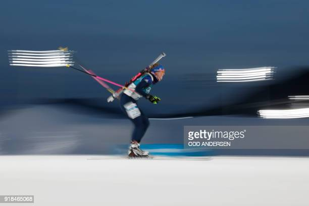 Great Britain's Amanda Lightfoot competes in the women's 15km individual biathlon event at the Alpensia biathlon center during the Pyeongchang 2018...