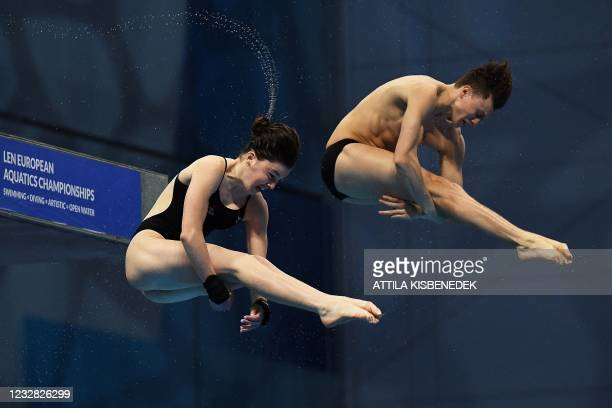 Great Britain's Andre Spendolini-Sirieix and Great Britain's Noah Williams compete in the Mixed Synchronised 10m Platform Diving event during the LEN...