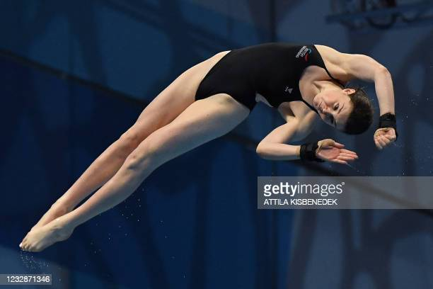 Great Britain's Andre Spendolini-Sirieix competes in the final of the Women's 10m Platform Diving event during the LEN European Aquatics...