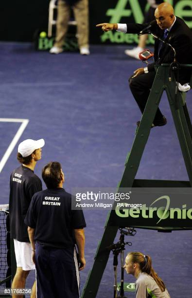 Great Britain's Andrew Murray and captain Jeremy Bates argue with the referee during the Davis Cup match agsinst Serbia and Montenegro at the...