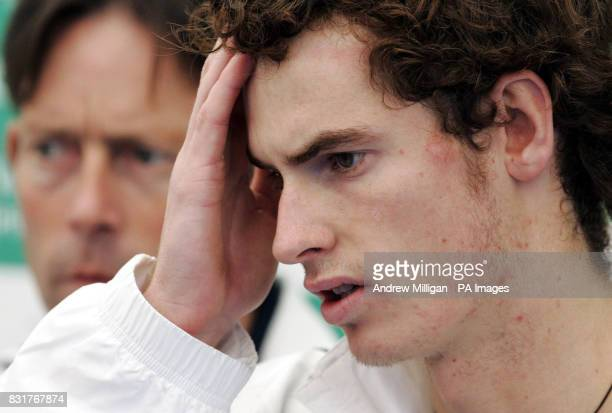 Great Britain's Andrew Murray and captain Jeremy Bates during a press conference after his defeat with Greg Rusedski in the Davis Cup Doubles match...