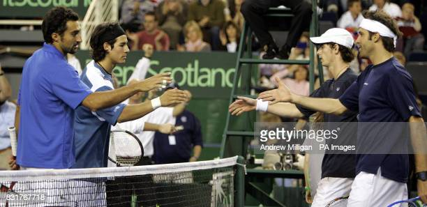 Great Britain's Andrew Murray and Greg Rusedski after their defeat to Serbia and Montenegro during their doubles Davis Cup match at the Braehead...