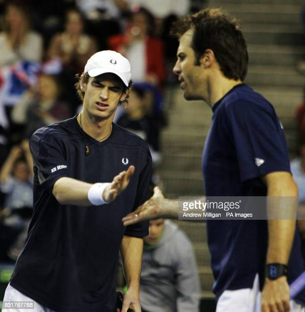 Great Britain's Andrew Murray and Greg Rusedski during their doubles match against Serbia and Montenegro in the Davis Cup match at the Braehead Arena...