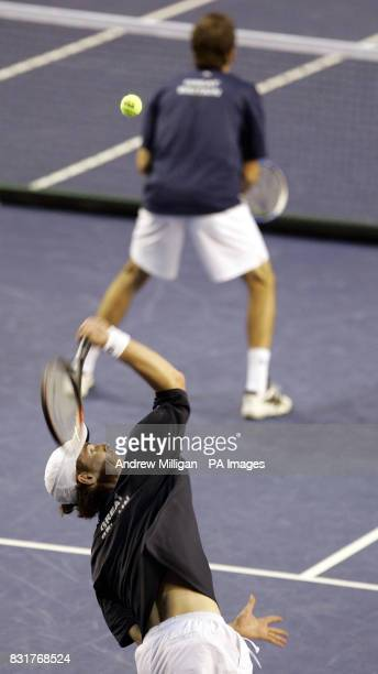 Great Britain's Andrew Murray and Greg Rusedski in their doubles match against Serbia and Montenegro during the Davis Cup match at the Braehead Arena...
