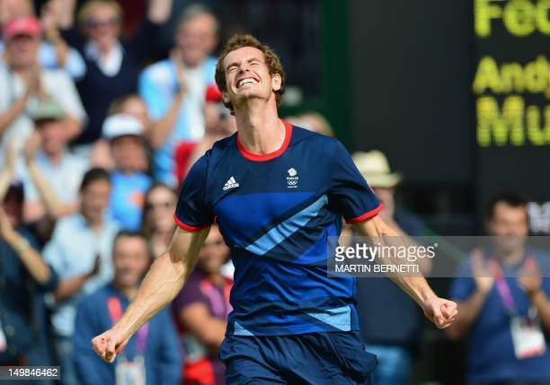 Great Britain's Andy Murray celebrates after winning the men's singles gold medal match of the London 2012 Olympic Games by defeating Switzerland's...