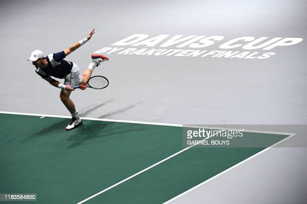 Great Britain's Andy Murray serves the ball to Netherlands' Tallon Griekspoor during the singles tennis match between Great Britain and Netherlands...